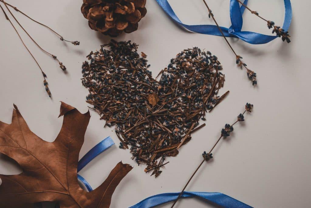Plantas de lavanda secas dispostas em forma de coração em cima de uma mesa.
