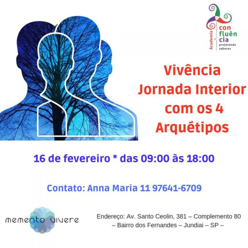 Cartaz do evento. Vivência Jornada Interior com os 4 Arquétipos.
