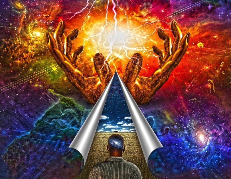 Mente do homem revelada em uma imagem. Mundo colorido e sem nexo.