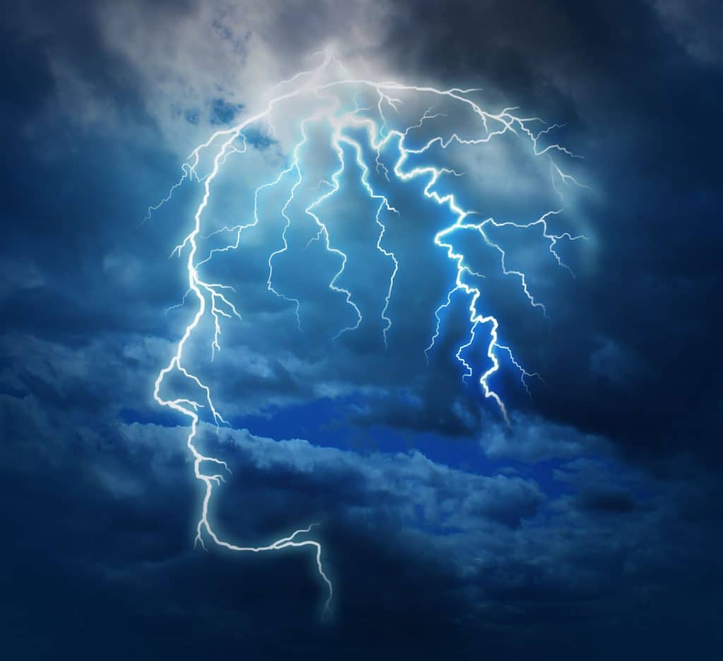 Céu nublado com um raio formando a silhueta da cabeça de uma pessoa e o cérebro.