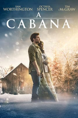 """Filme """"A Cabana"""". Homem e mulher parados no meio da capa, ao fundo uma cabana no gelo."""