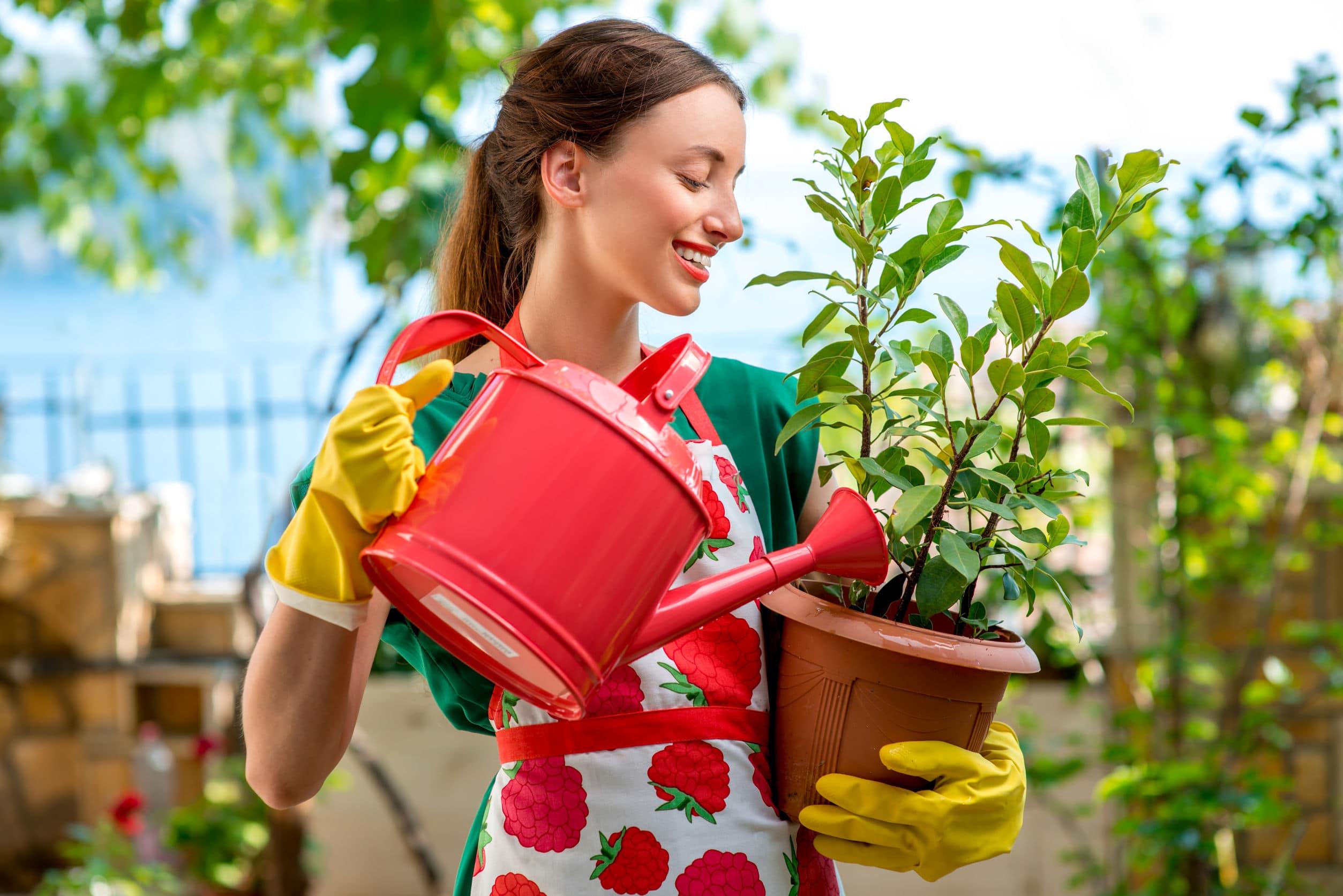 Mulher nova e sorridente usando um avental e luvas de trabalho regando vaso de plantas em um jardim