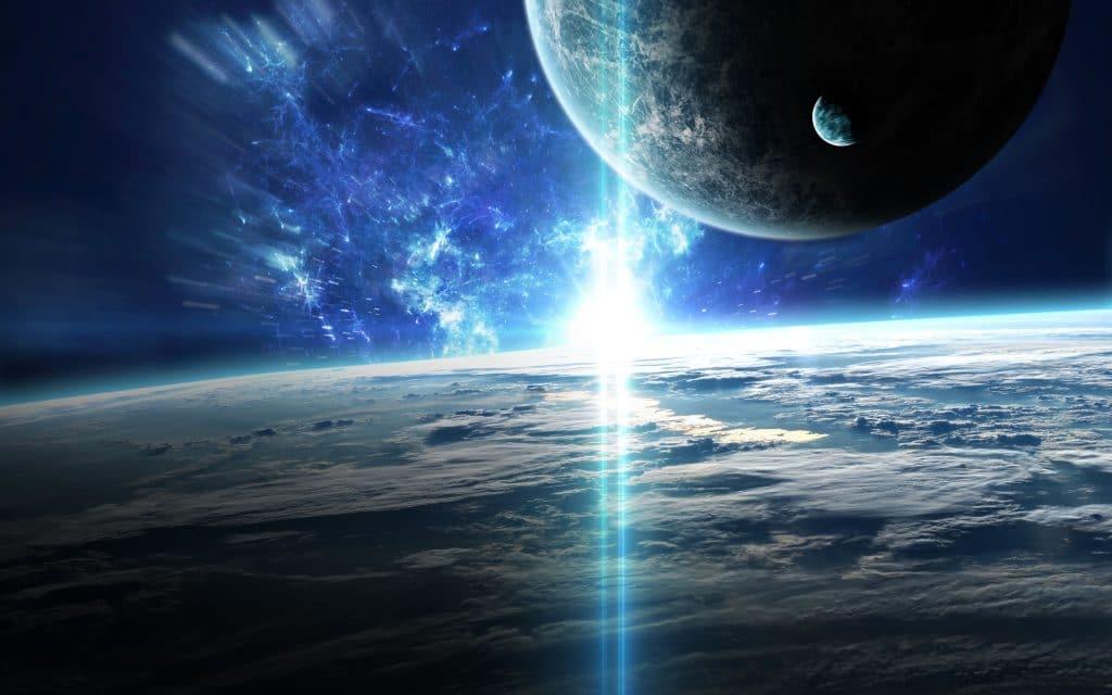 Ilustração da vista espacial de 3 planetas azuis into em direção à uma nebulosa