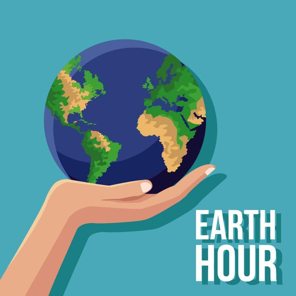 Ilustração de mão segurando um planeta terra, com um fundo azul, escrito hora da terra em inglês
