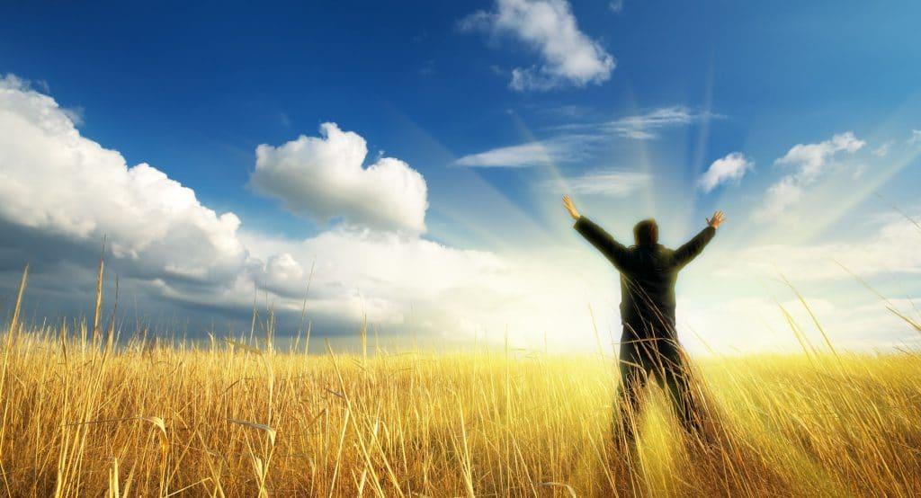 Silhueta de pessoa em pé no meio de uma plantação de trigo, com os braços para cima, olhando na direção de um raio de luz branca que aparece no horizonte.