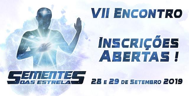 Banner com informações do VII Encontro Semente das Estrelas 2019.
