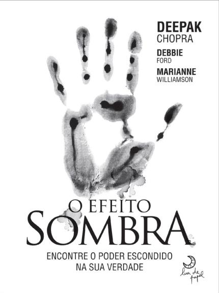 Livro O Efeito Sombra. Todo branco com a marca de uma mão em preto.