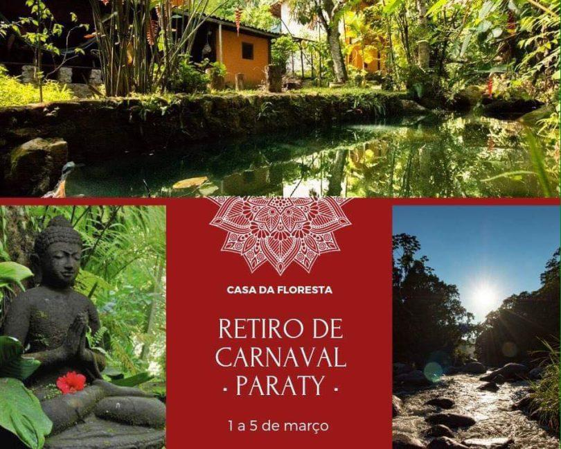 Banner com informações do retiro Carnaval na Floresta.