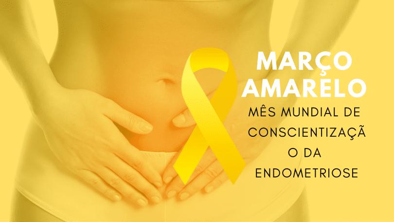 Mulher com as mãos na região abdominal baixa com fundo amarelo. Mês Mundial da Conscientização da Endometriose.