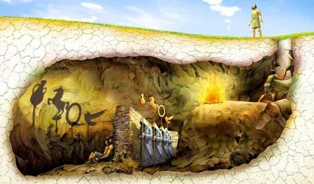 ilustração do mito da caverna