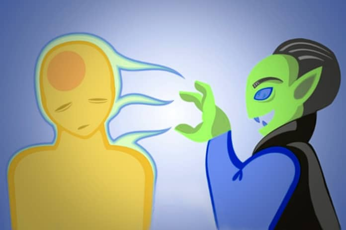 Vampiro espiritual sugando energia de outro ser humano.