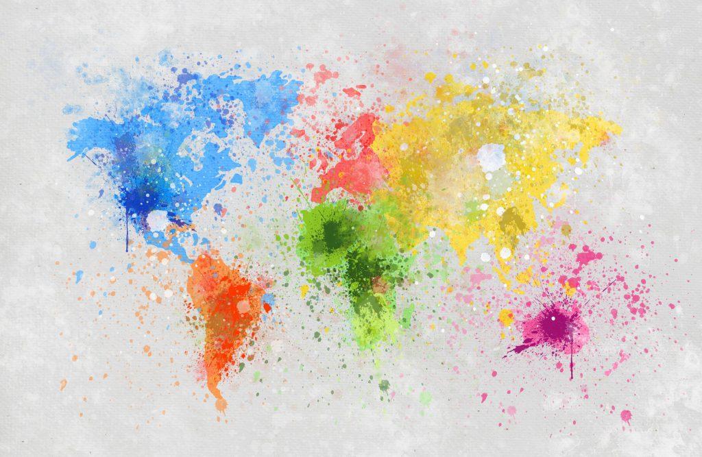 Mapa do mundo pintado em aquarela.