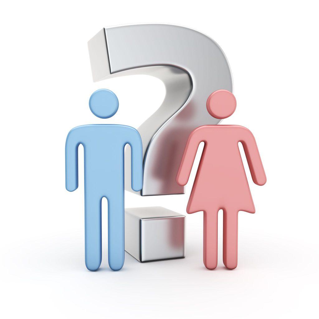 Simbolos de gêneros feminino e masculino e um ponto de interrogação no meio.