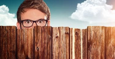 Homem olhando por cima da cerca do vizinho simbolizando inveja.
