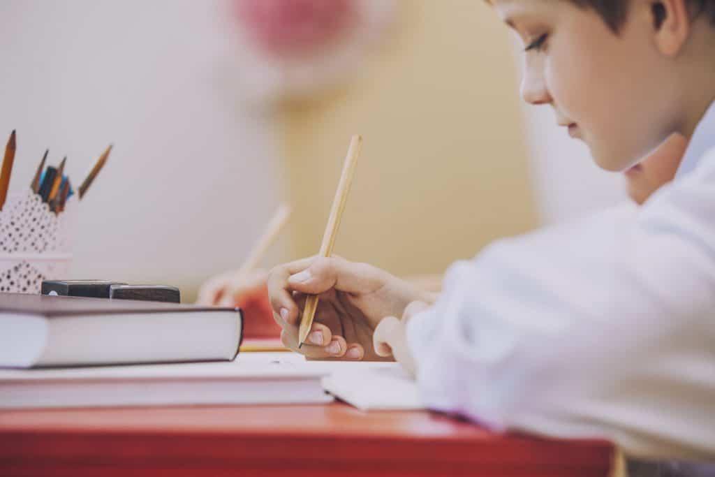 Representação do Eu cidadão: um menino, criança, estudando na escola, vestindo uniforme e escrevendo a lápis em um caderno.