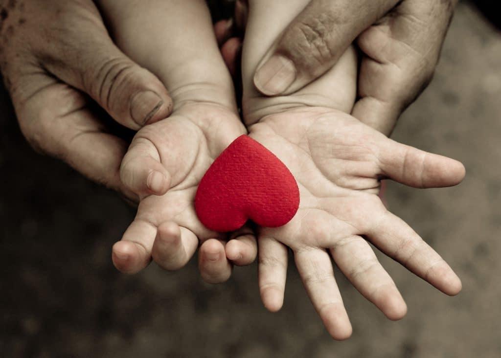 Mãos de adulto dando suporte à mãos de criança, ambas brancas, segurando um coração vermelho de tecido.