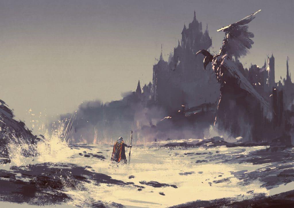 Ilustração do rei andando por uma praia com castelo de fantasia no fundo