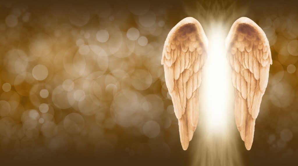 Um anjo totalmente iluminado com suas duas asas em destaque.