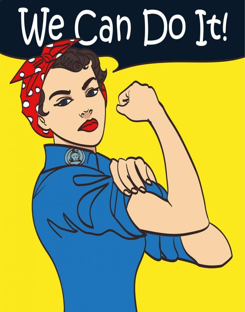 """Poster """"We can do it"""". Mulher com macacão azul e faixa vermelha na cabeça, mostrando braço forte."""