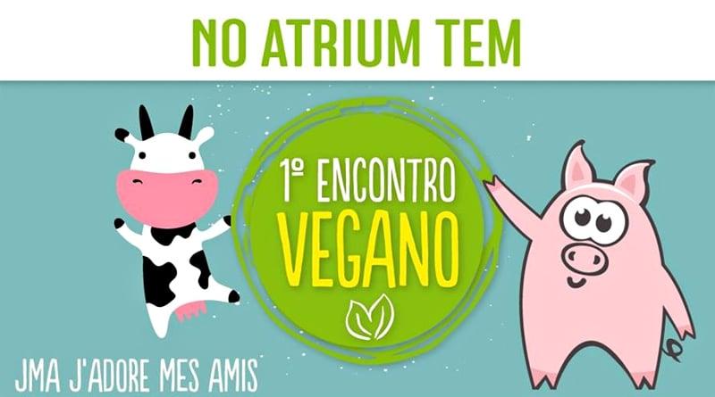 Banner com ilustrações do evento Encontro Vegano JMA Atrium Shopping.