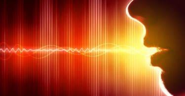 Ilustração de onda sonora saindo da boca de uma pessoa.
