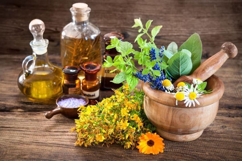 Flores, ervas e óleos representando a medicina alternativa