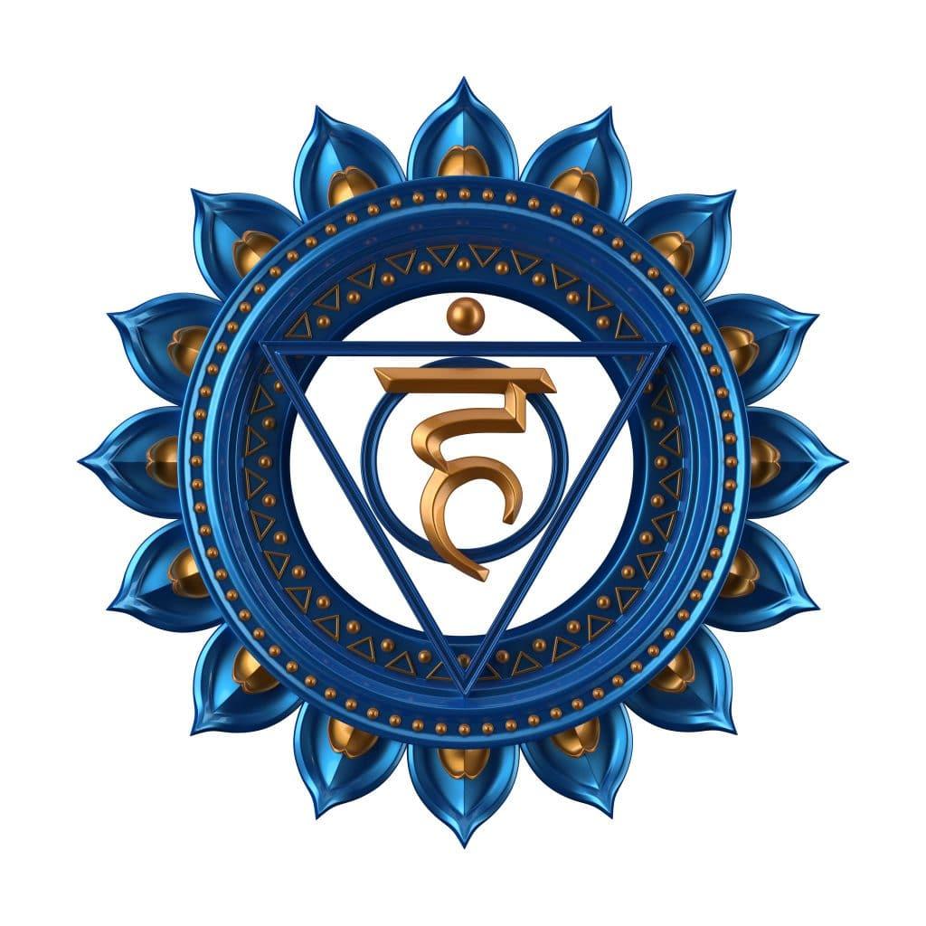 Ilustração do símbolo que representa o chakra laríngeo