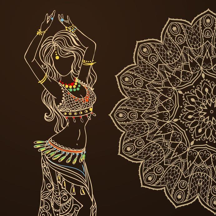 Desenho de mulher dançando com mandala