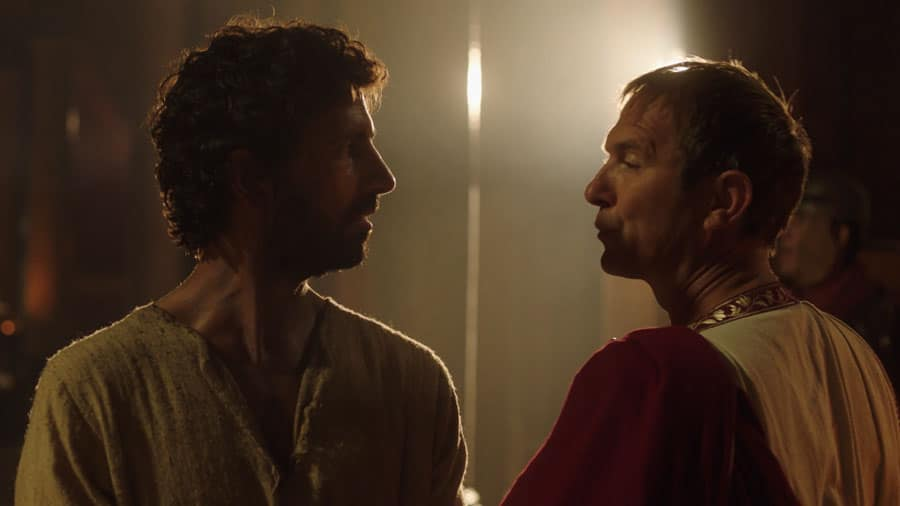 Imagem de jesus frente a frente com o imperador.