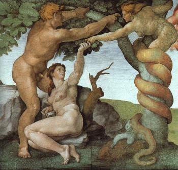 Representação de Eva, Adão e a serpente do pecado