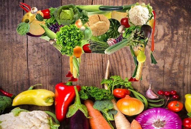Representação de um boi feito de vegetais