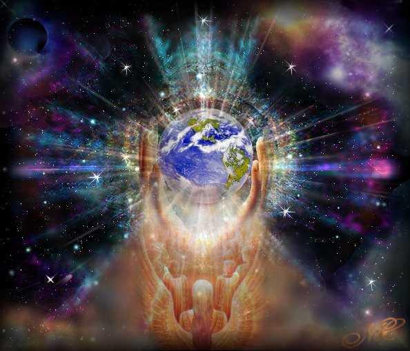 Planeta Terra sendo segurado, no centro de vibrações do Universo