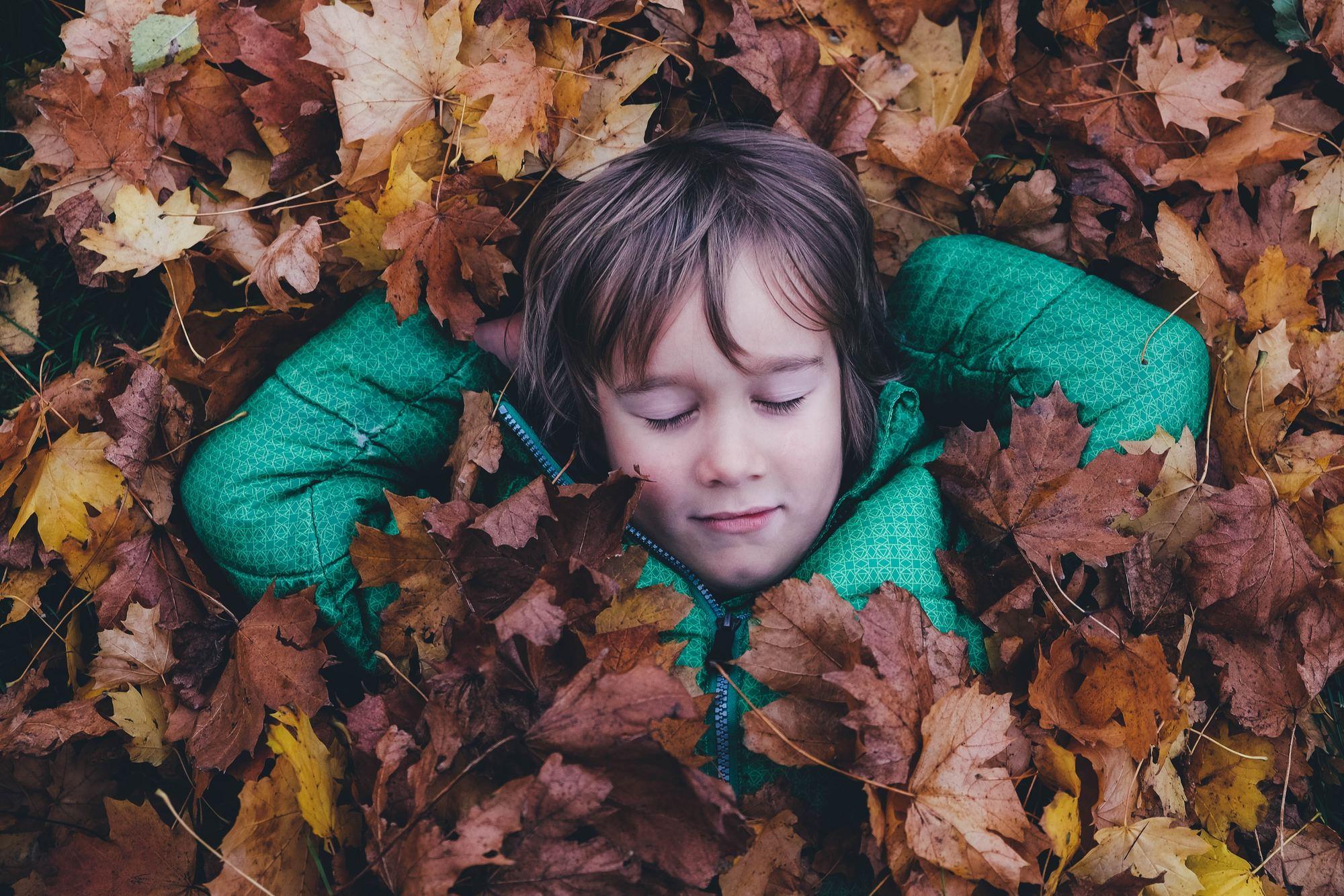 Criança vista de cima deitada em cima das mãos em cima de folhas de outono