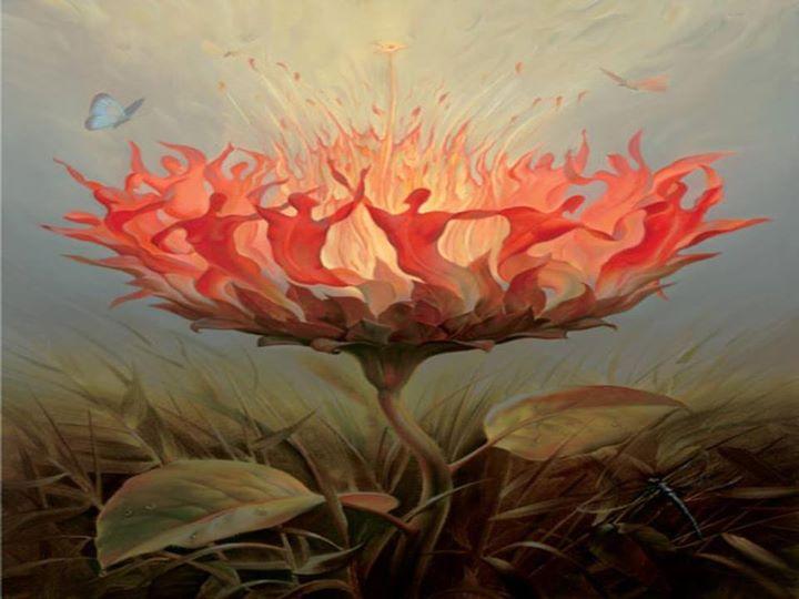 Flor circundada por sombras de humanos dançando