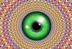 Ilusão de ótica com íris verde no centro