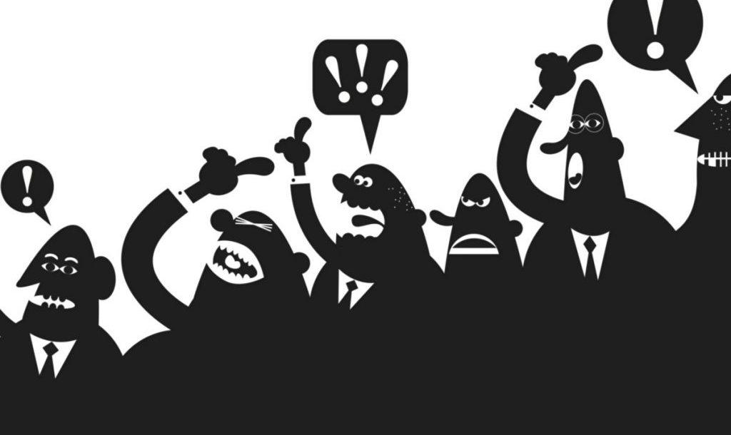 Ilustrações de pessoas discutindo avidamente, com todos falando e gritando ao mesmo tempo.