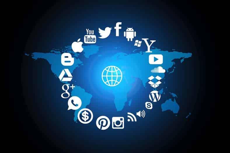 ícones das redes sociais organizadas em círulo