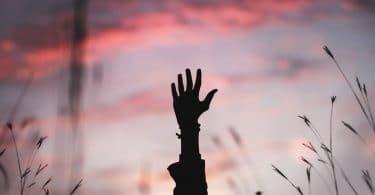 Silhueta de braço levantado, com céu azulado e rosado, ao fundo.
