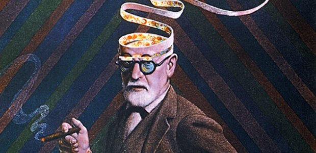 Ilustração de Freud fumando um charuto, enquanto sua cabeça se desmancha em fitas, mostrando o interior da sua mente.