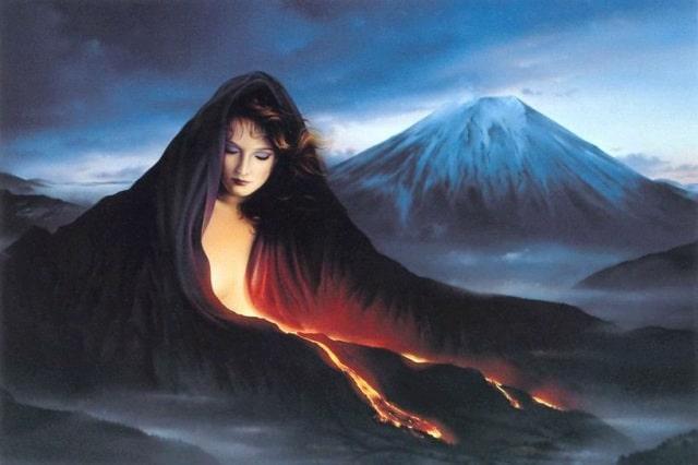 Representação da Mãe Gaia. Mulher coberta por uma colina.