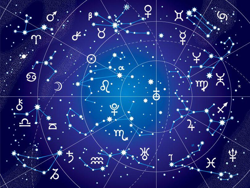 Ilustração de um mapa astral com desenhos de estrelas e signos