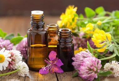 Óleos essenciais usados na aromaterapia.