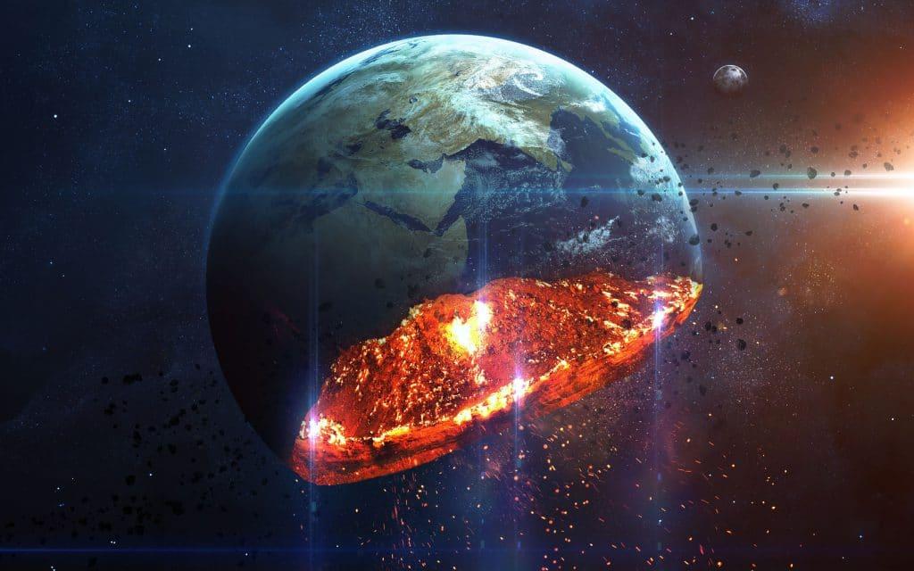 Ilustração do planeta terra se desafazendo em cinzas.