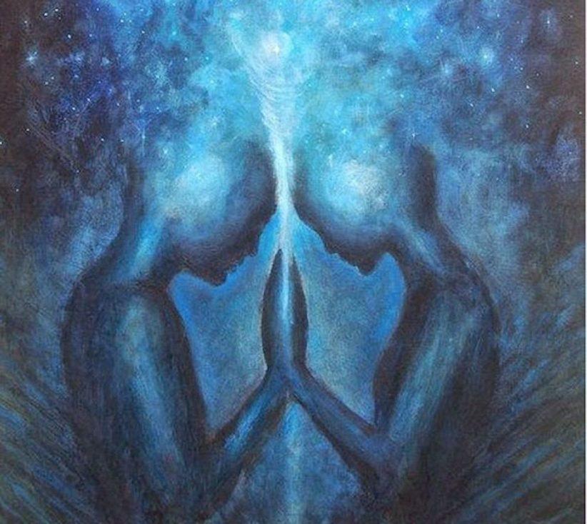 Ilustração de duas almas se conectando no espaço
