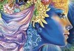 Ilustração da deusa Litha com flores e plantas em seu cabelo.
