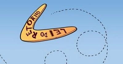 """Boomerang com escrita """"lei do retorno"""""""