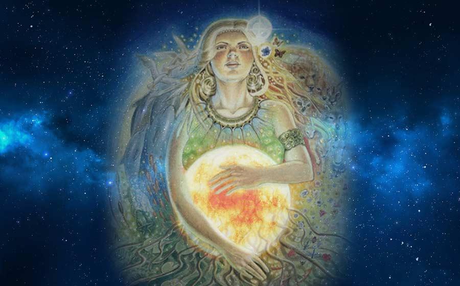 Ilustração de Litha segurando um sol em meio ao universo.