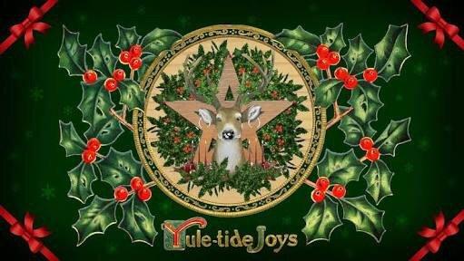 Ilustração da celebração Yule com uma rena no meio de uma estrela decorada com várias folhas e laços.