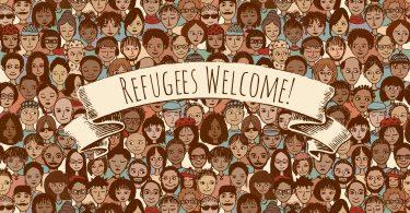 Dia do Refugiado - Ilustração de pessoas de diversas etnias e nacionalidades, representando a diversidade de refugiados, com o escrito Bem - vindo refugiados, no meio da imagem.