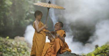 Dois pequenos monges budistas conversando e rindo. Um deles está segurando um guarda chuva e o outro lê um livro. Ambos estão sentados em uma pedra na floresta.